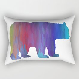 Rainbow Watercolor Dripping Bear Rectangular Pillow