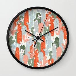 Floral Cactus Wall Clock