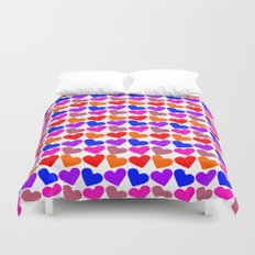 Colorful Hearts Pattern Duvet Cover