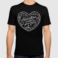 Adventure is where your heart is BW Mens Fitted Tee MEDIUM Black