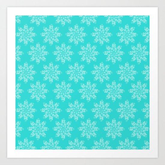 Blue Flakes Art Print