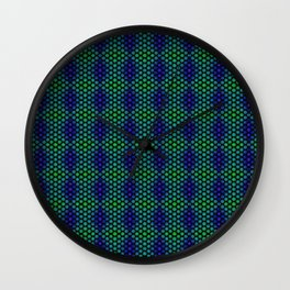 Snowflakes in Black, Green, and Blue Wall Clock