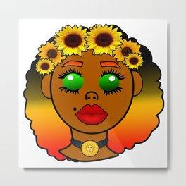 Kawaii Sunflower Goddess Metal Print