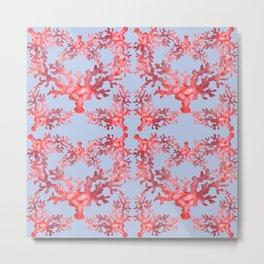 Coral on Blue Metal Print