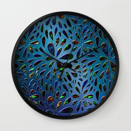 Crystal Drops In Blue Metallic Background Wall Clock