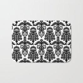 Floral Pattern Black & White Bath Mat