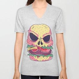 Burger as dead skulls Unisex V-Neck