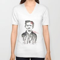 poe V-neck T-shirts featuring Poe by Eda ERKOVAN