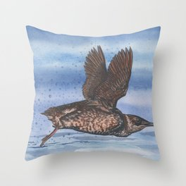 Marbled Murrelet take off Throw Pillow