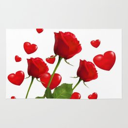 RED  ROSES & VALENTINES HEARTS  DESIGN Rug