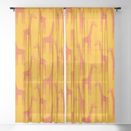 Giraffes-Orange Sheer Curtain