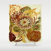 thanksgiving Shower Curtains featuring Thinking of Thanksgiving by Sand Salt Moon