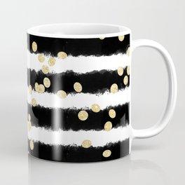 Modern black watercolor stripes chic gold confetti Coffee Mug