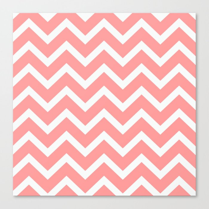 Salmon Wavy Zigzag Chevron Pattern Canvas Print