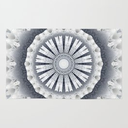 Silver Wedding Inspired Flower Mandala Rug