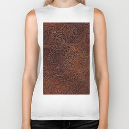 Burnished Rich Brown Tooled Leather Biker Tank