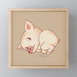 Cute pig resting Framed Mini Art Print