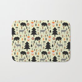 Winter bears, foxes and deer Bath Mat