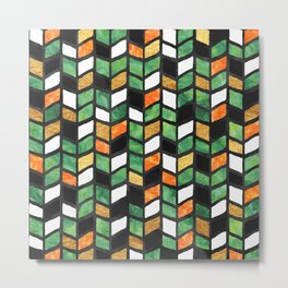 Herringbone Golden Jade Metal Print