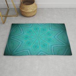 Caribbean Sea // Turquoise Blue Geometric Abstract Mandala Star Tropical Bright Vibrant Rug