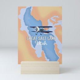 Great Salt Lake Utah map Mini Art Print