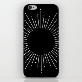Sunburst Moonlight Silver on Black iPhone Skin