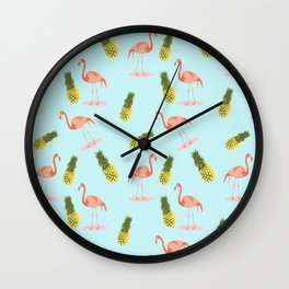 Flamingo and Pineapple Wall Clock