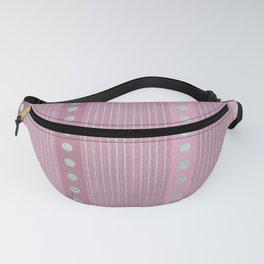 Geometric Pastel Pink Glam Silver Stripes Pattern Fanny Pack