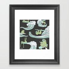 Surfin' Sloths  Framed Art Print