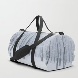 Snow covered frozen forest in winter Duffle Bag