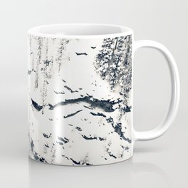 Snow on Textures of Pine Trees and Cliffs Coffee Mug