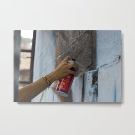 A Girl and a Spray Can Metal Print