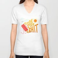 shit V-neck T-shirts featuring Hot Shit by Mary Kate McDevitt
