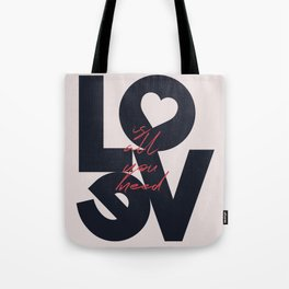 All you need is love, The Beatle music quote, Valentine's Day, just married, couples gift, present Tote Bag