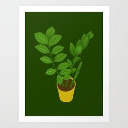 ZZ Plant Zamioculcas Tropical Houseplant Painting Art Print