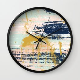 Blush, Gold, Navy, White, Mint Abstract  Wall Clock