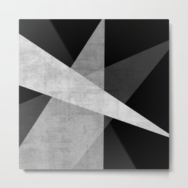 Ambitious   Abstract in White + Gray on Black Metal Print