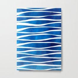 Blue Watercolor Brushstrokes Metal Print