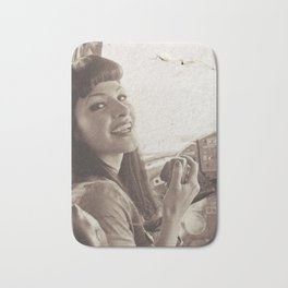 """""""Roger That"""" - The Playful Pinup - Sepia Weathered Air Force Pinup Girl by Maxwell H. Johnson Bath Mat"""