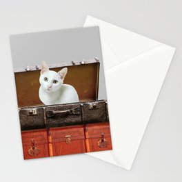 White little cat in suitcase  Stationery Cards