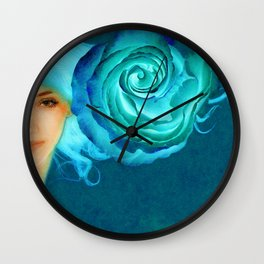 Blue Roses Wall Clock