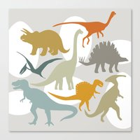 dinosaurs Canvas Prints featuring Dinosaurs by Jill Byers