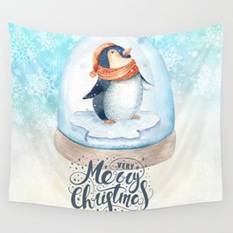 Christmas penguin #3 Wall Tapestry