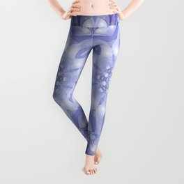 Light Blue, Lavender & White Floral Mandala Leggings