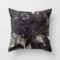 goth Throw Pillows featuring goth peony by inourgardentoo