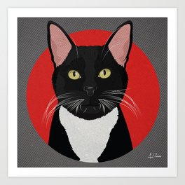 Tuxedo Cat Design in Bold Colors for Pet Lovers Art Print