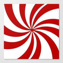 festive winter holiday candy land red and white lollipop candy swirls Canvas Print