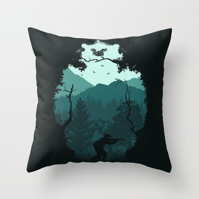 Hunting Season - Blue Throw Pillow