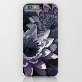 Blue and Purple Watercolor Lotus  flowers iPhone Case