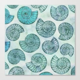 Shimmering Underwater Shell Scenery Aqua Colors Canvas Print